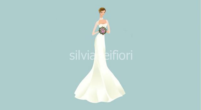 bouquet da sposa per abito a sirena