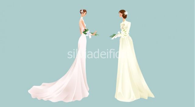 Bouquet a fascio per sposa con abito lungo